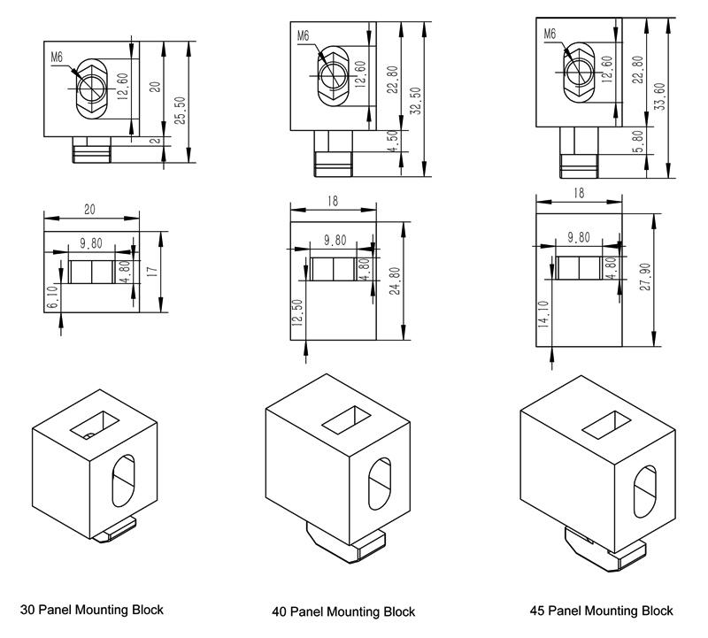 panel mounting block accessories t slot aluminum profile